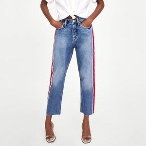 Zara Cropped Jeans With Red Side Stripe